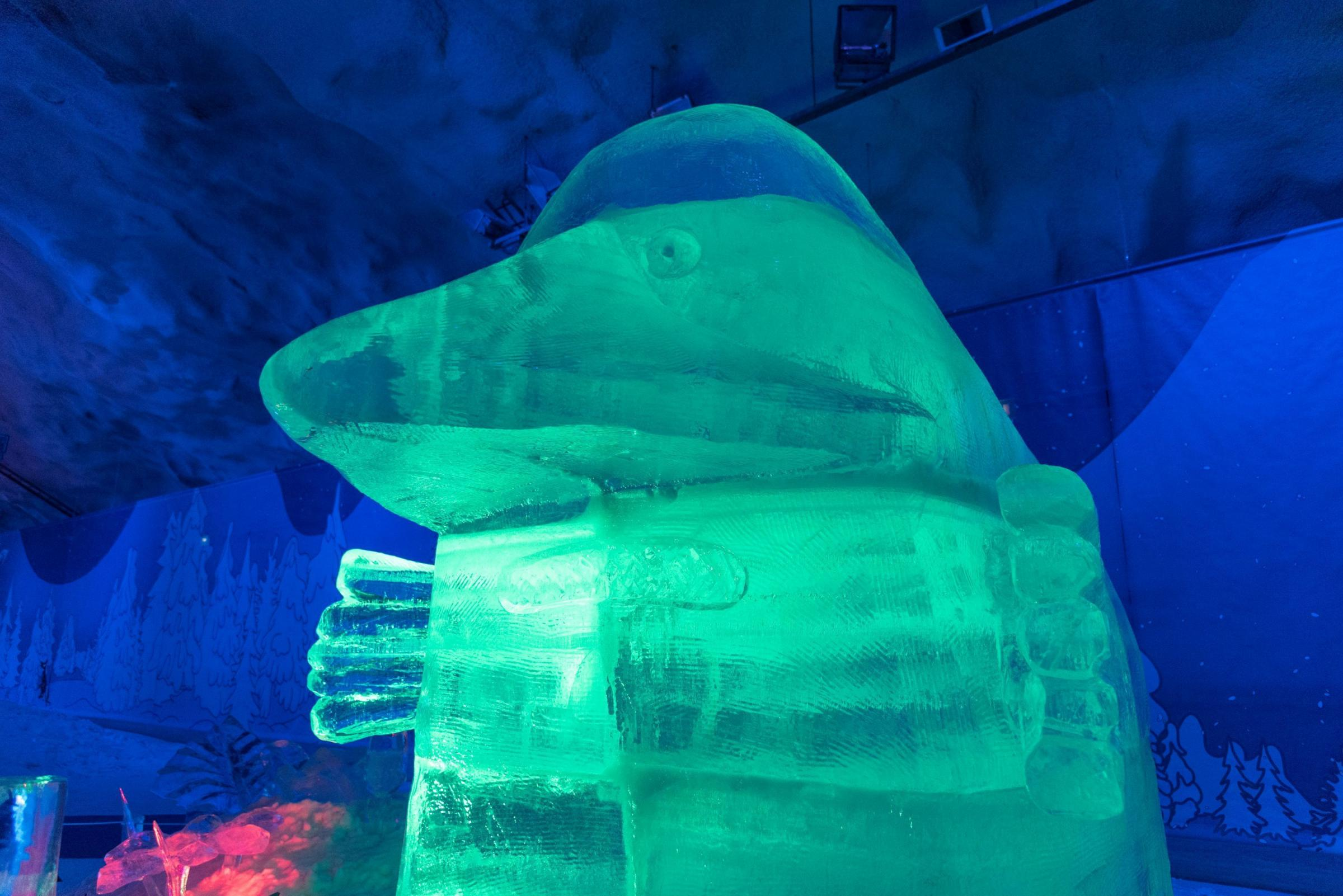 The Groke ice sculpture at the ice cave at the Vesileppis Resort in Finnish Lakeland