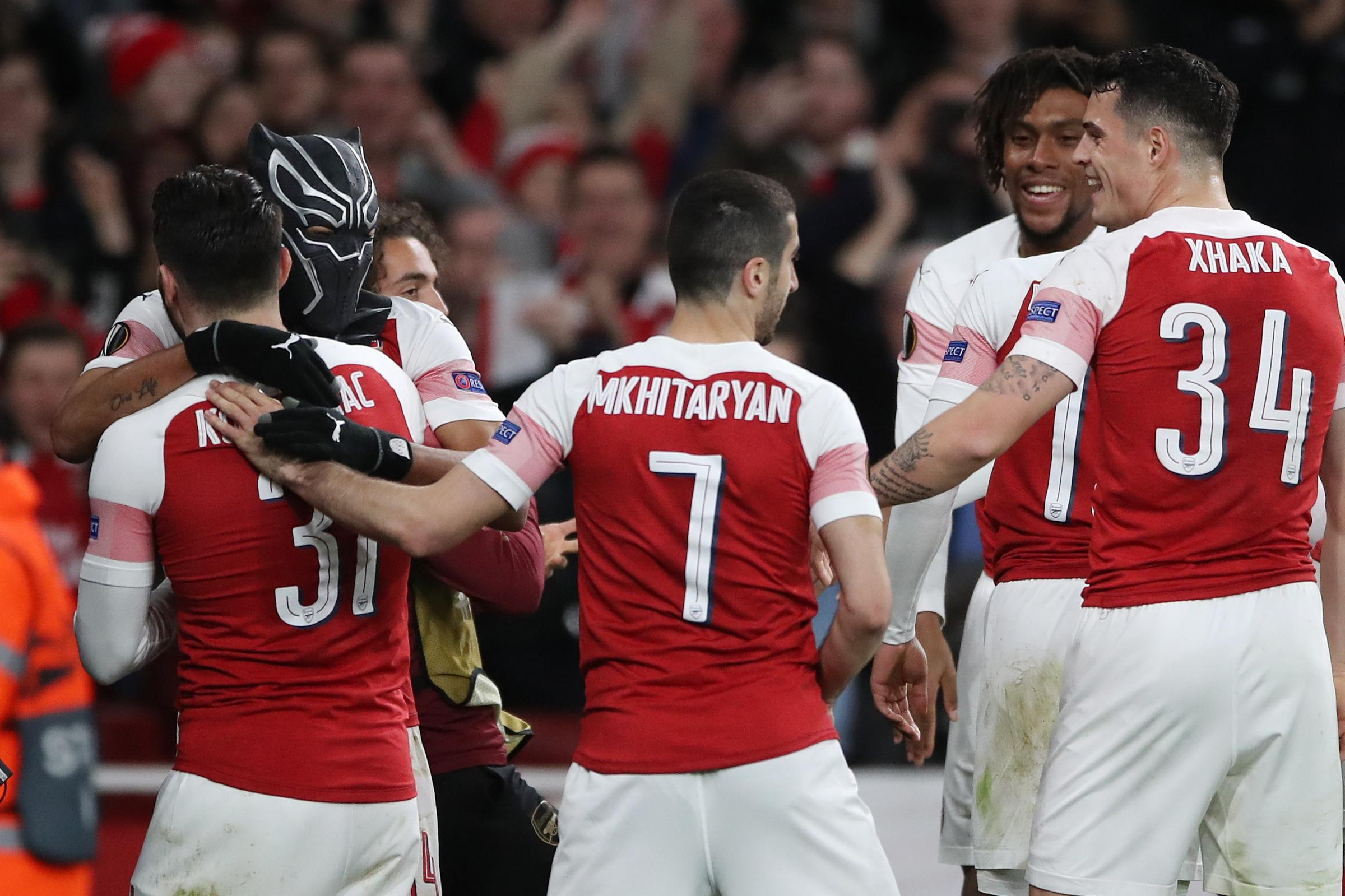 Pierre-Emerick Aubameyang donned a Black Panther mask after scoring one of the goals that sent Arsenal into the Europa League quarter-finals