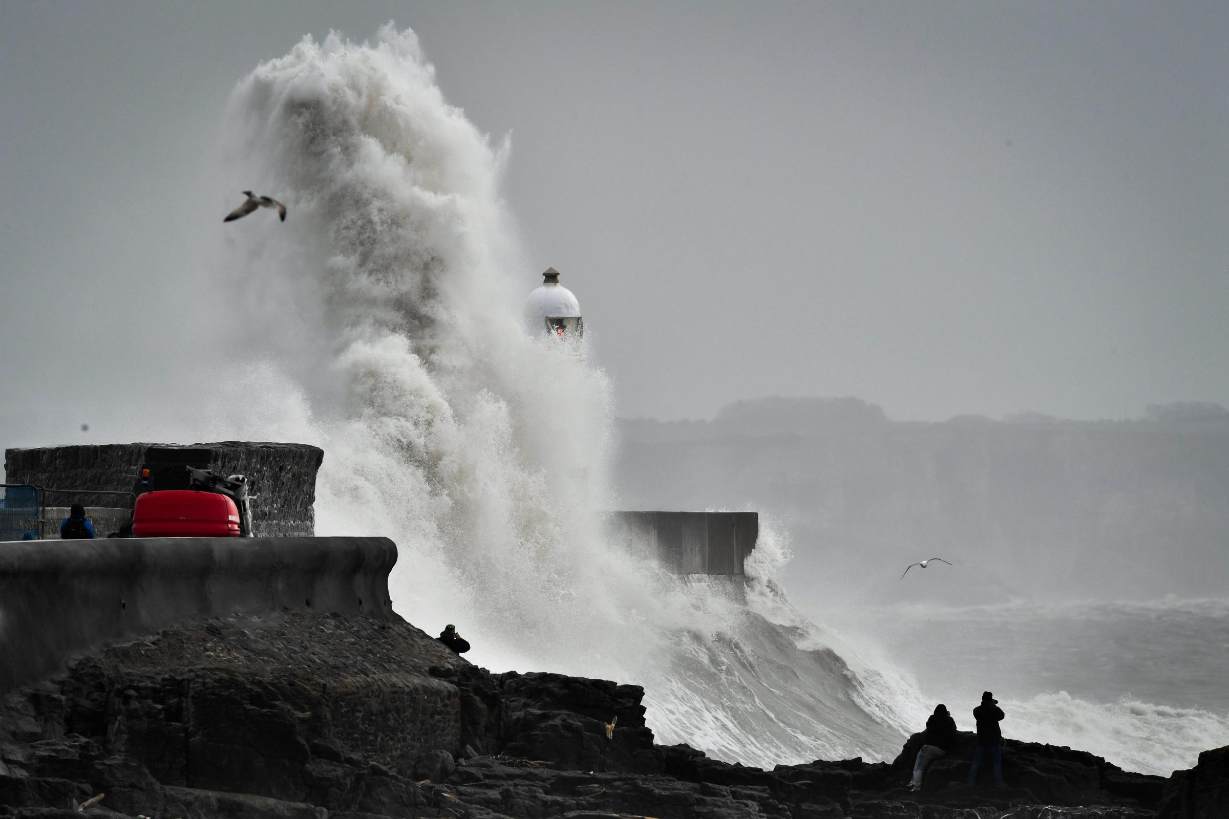 Huge waves hitting the harbour wall in Porthcawl, Wales, as Storm Gareth hit earlier in the year